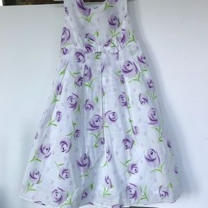George white floral dress with purple flowers 7